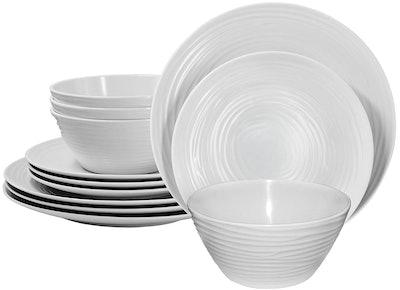 Parhoma White Melamine 12-Piece Dinnerware Set