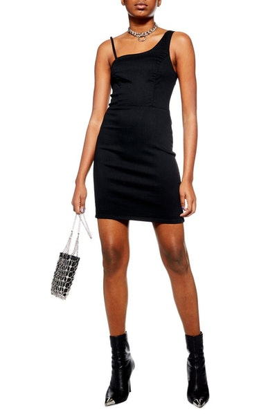 Topshop Asymmetrical Denim Sheath Dress