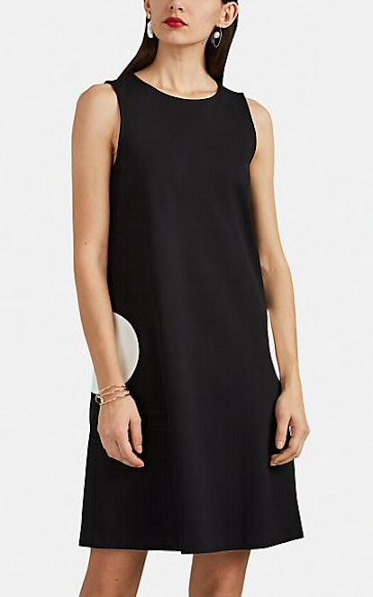 Circle-Pocket Ponte-Knit Shift Dress