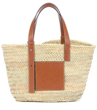 Leather-Trimmed Basket