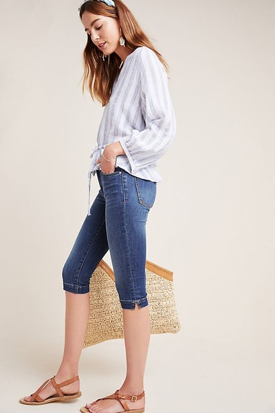 Pilcro Mid-Rise Sknny Pedal Pusher Jeans