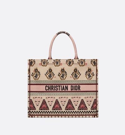 Book Tote In Pink Embroidered Geometric
