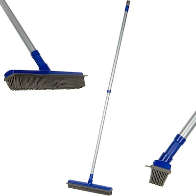 Fox Trot Fur Buster Rubber Broom With Squeegee