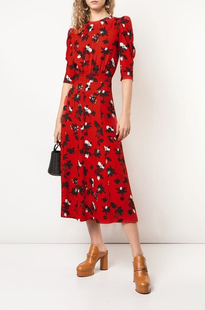 Floating Floral Puff Sleeve Midi Dress
