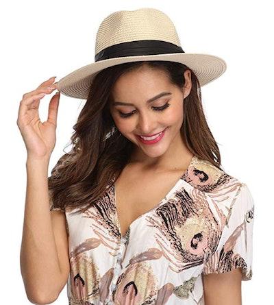 Lanzom Wide Brim Panama Hat