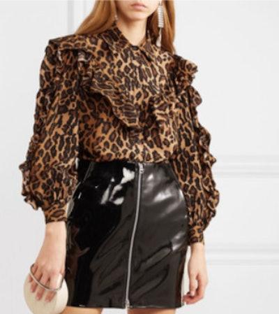 Ruffled Leopard-Print Silk-Georgette Blouse