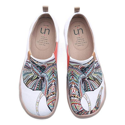 UIN Blossom Painted Canvas Slip-On Shoes