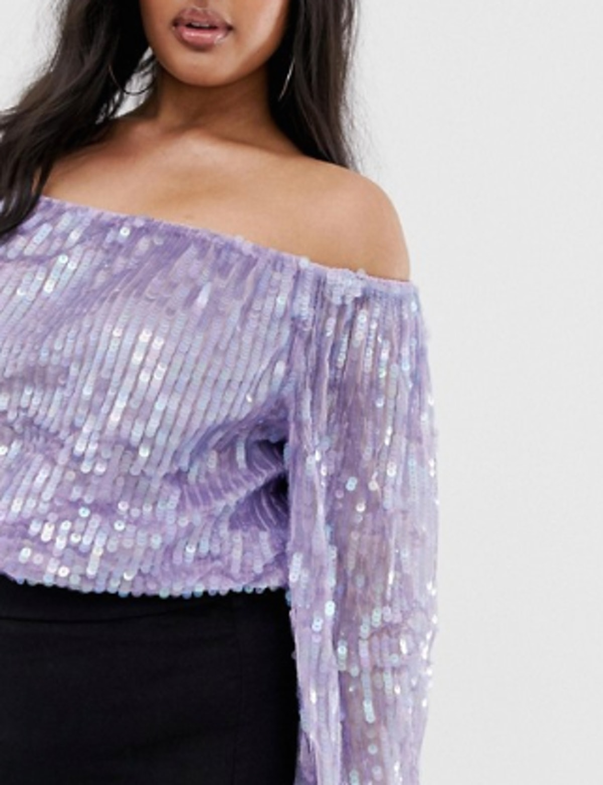 Sequin Top with Blouson Sleeve