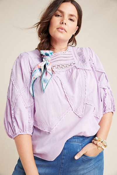 Aderyn Puff-Sleeve Lace Blouse