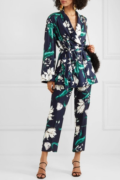 Stanford Floral-Print Satin-Twill Jacket