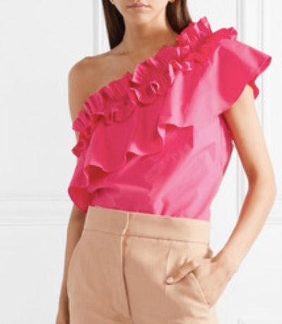 Esme One-Shoulder Ruffled Stretch-Cotton Poplin Top