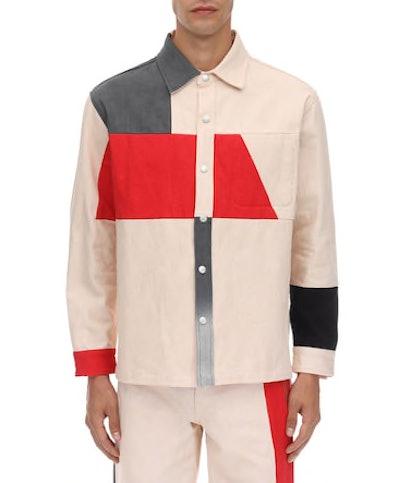 Patchwork Cotton Canvas Shirt Jacket
