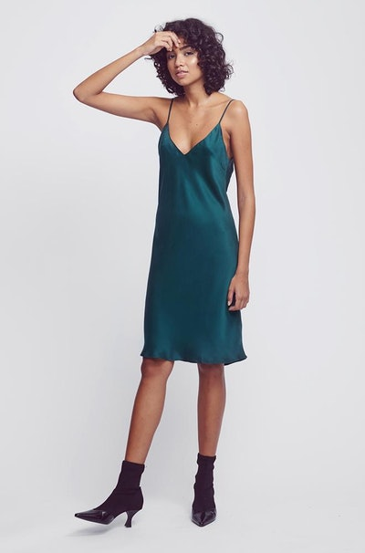 Short 90s Silk Slip in Emerald
