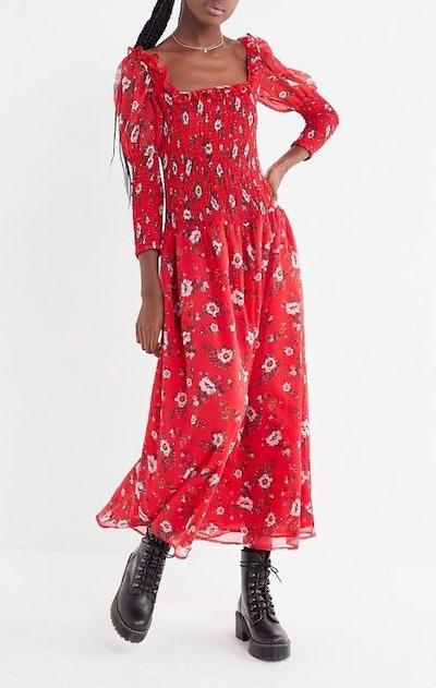 Greta Floral Smocked Puff Sleeve Maxi Dress