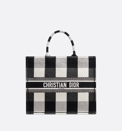 Book Tote In Black-And-White Embroidered Check