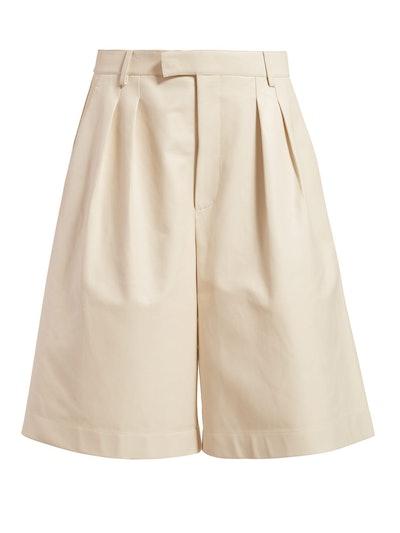 Mid-Rise Leather Bermuda Shorts
