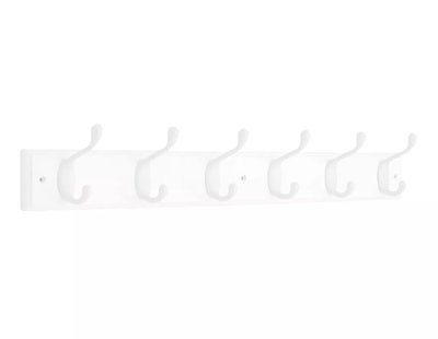 Brainerd Heavy Duty Coat and Hat Rail with 6 Hooks - White