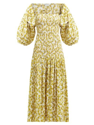 Harper Shirred Floral-Print Cotton Midi Dress