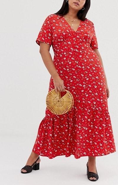 Glamorous Midaxi Smock Dress In Vintage Floral
