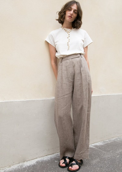 Heather Brown Linen Tab Trousers
