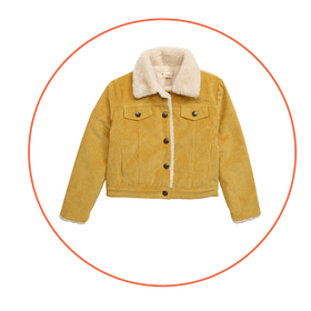 Faux Fur Collar Corduroy Jacket