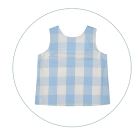 Kingsley Button Back Top, Bluebell Check