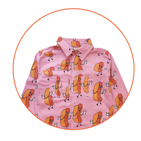 Hot Dogs Collared Shirt