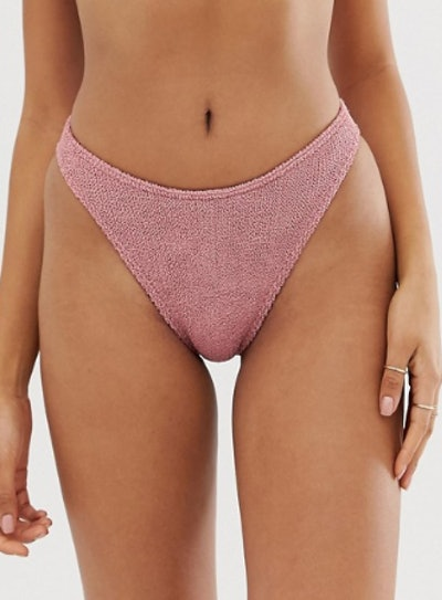 ASOS DESIGN Mix And Match Crinkle High Leg Hipster Bikini Bottom In Shiny Dusky