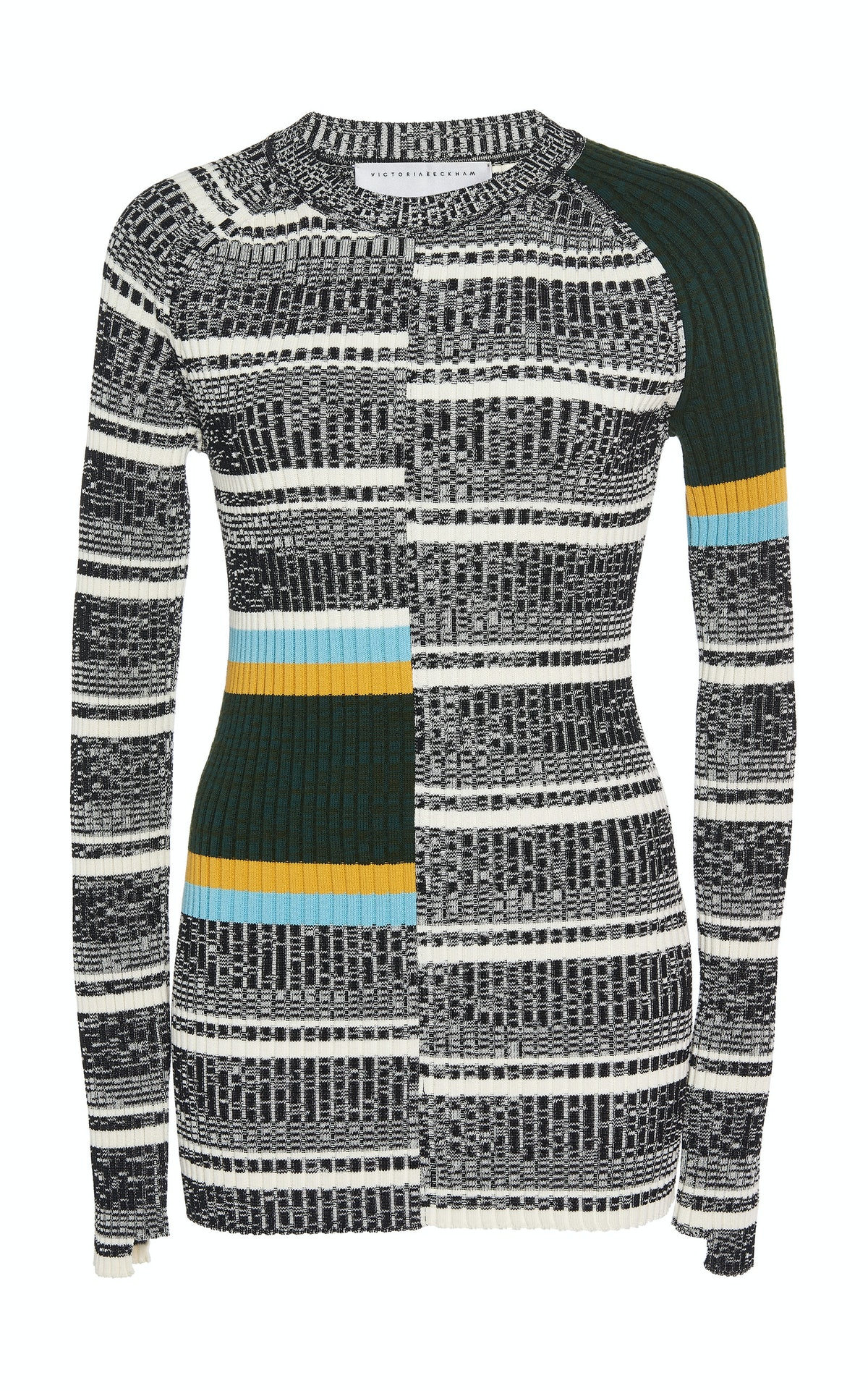 Striped Rib-Knit Cotton-Blend Top