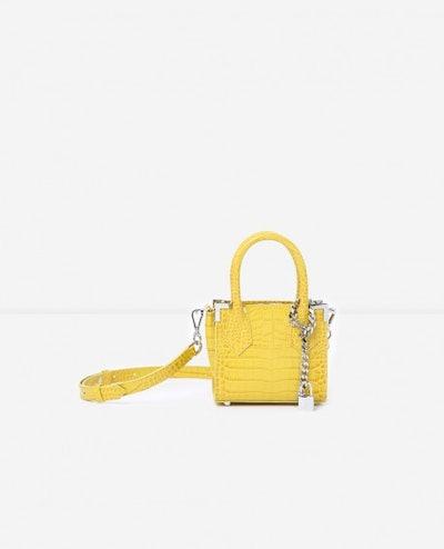Ming Yellow Crocodile-Print Nano Bag