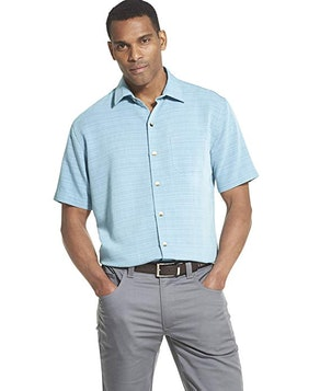 Van Heusen Men's Big And Tall Air Short-Sleeve Button-Down Grid Shirt