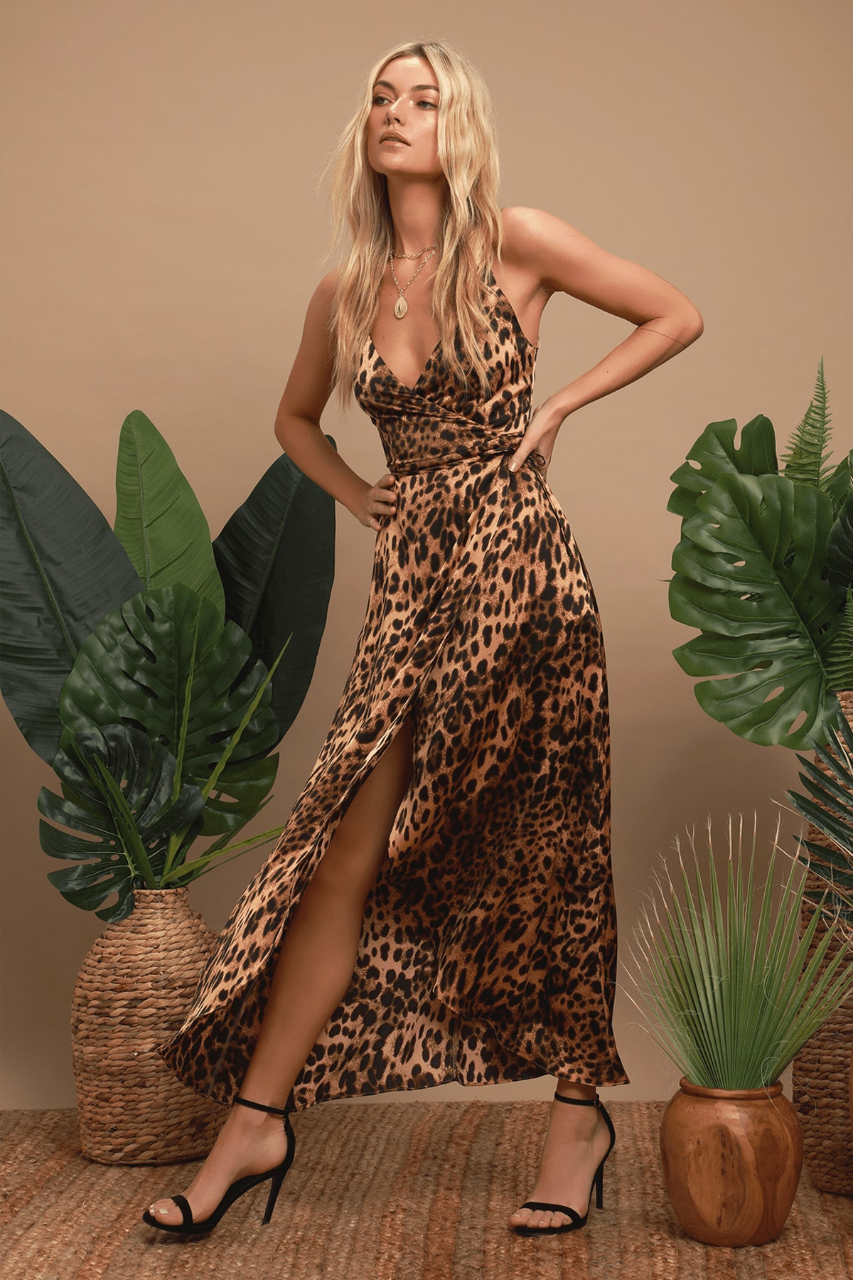 Wildly Wonderful Leopard Print Satin Maxi Wrap Dress