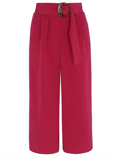 Pink Eyelet Tie Side Culottes
