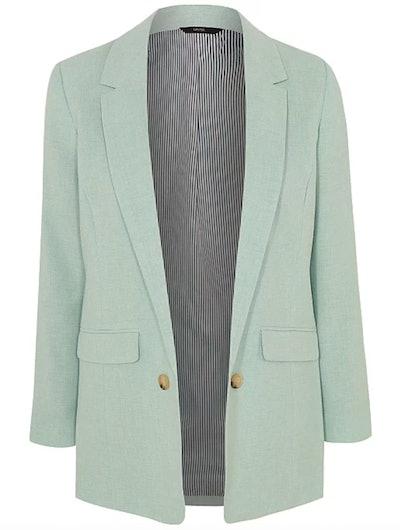 Mint Green Textured Open Front Formal Blazer