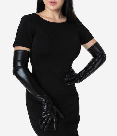 Black Vinyl Long Opera Gloves