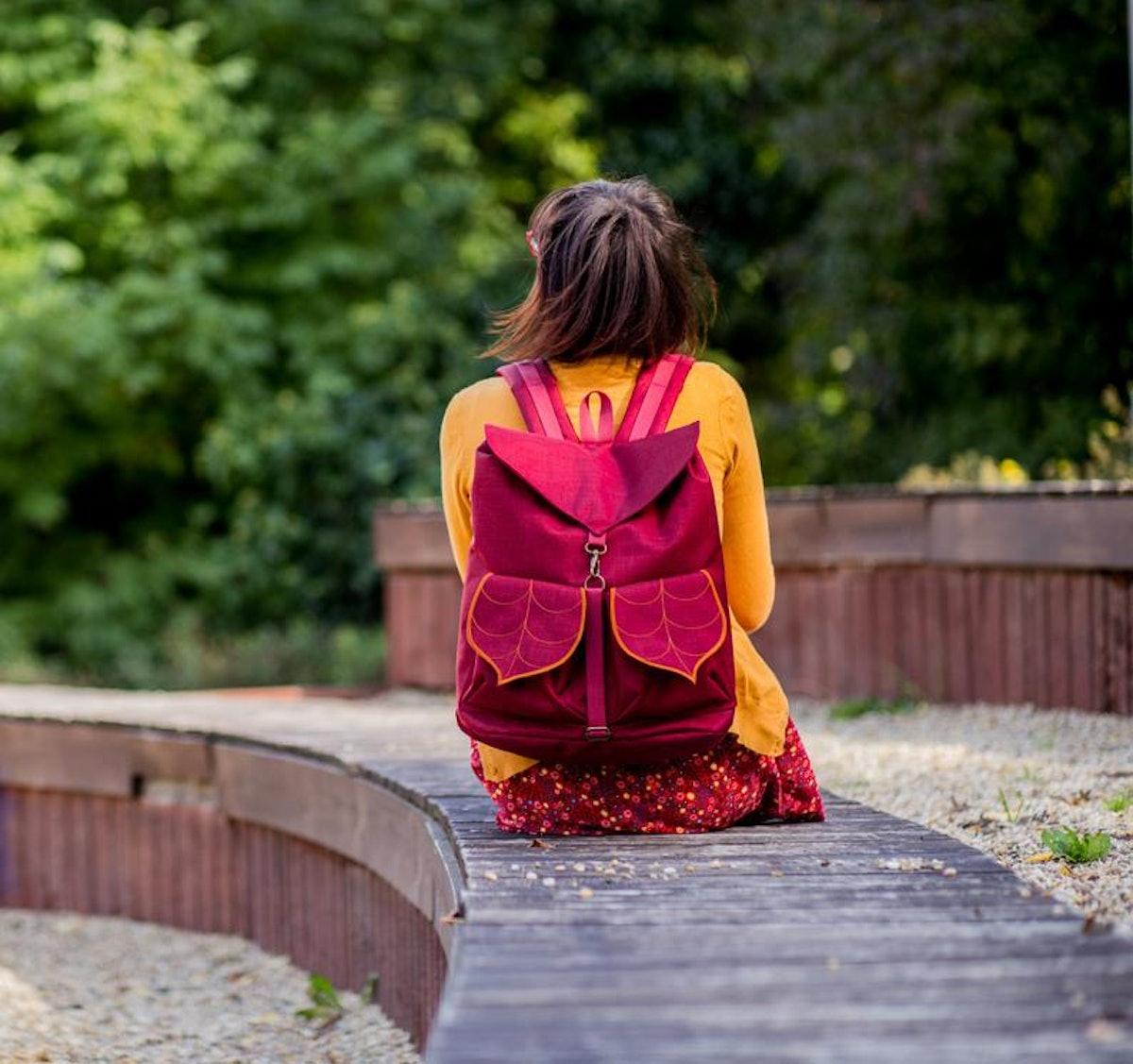 Dark Red Waterproof Backpack with Leaf Design