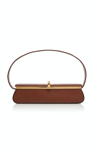 Powder Box Leather Top Handle Bag