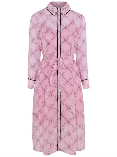 Pink Check Print Button-Down Midi Dress