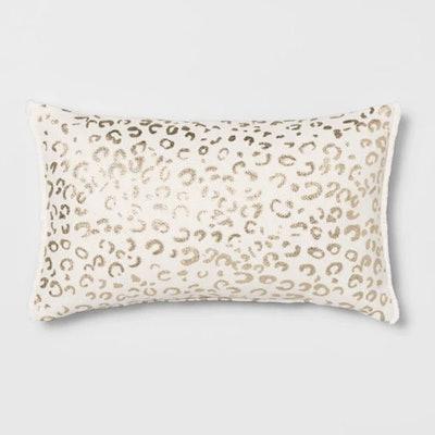Metallic Leopard Print Lumbar Throw Pillow