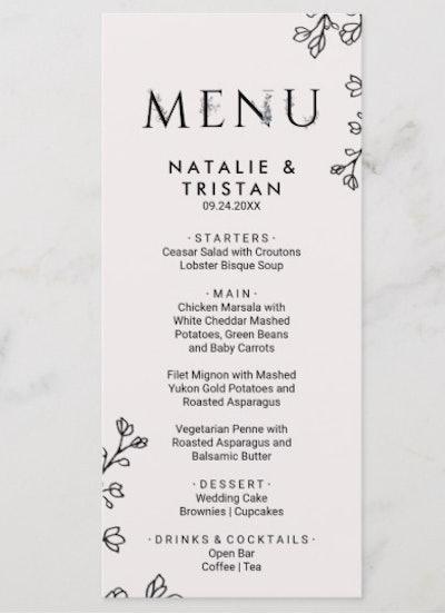 Floral Typography Dinner Menu Card