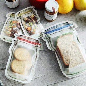 RRJQW Reusable Mason Jar Ziplocks (Pack of 18)