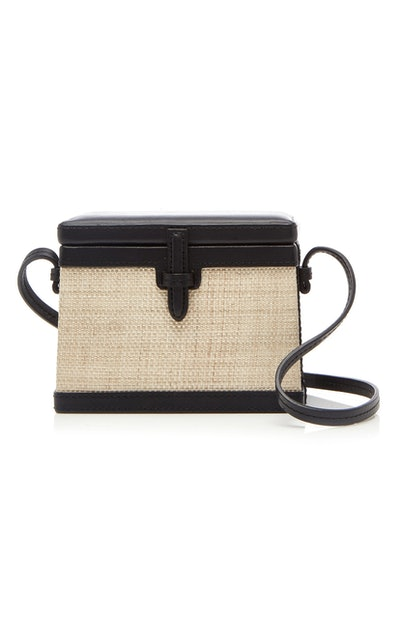 Trunk Mini Platano And Leather Shoulder Bag