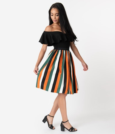 1950s Style Pumpkin Stripe Jasmine Swing Skirt