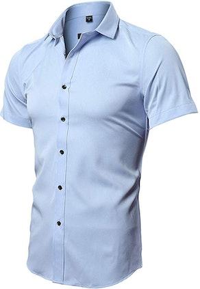 FLY HAWK Men's Bamboo Fiber Short-Sleeve Button-Down Shirt