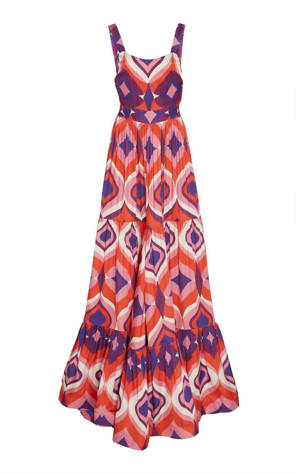 Jourdan Printed Crepe Maxi Dress