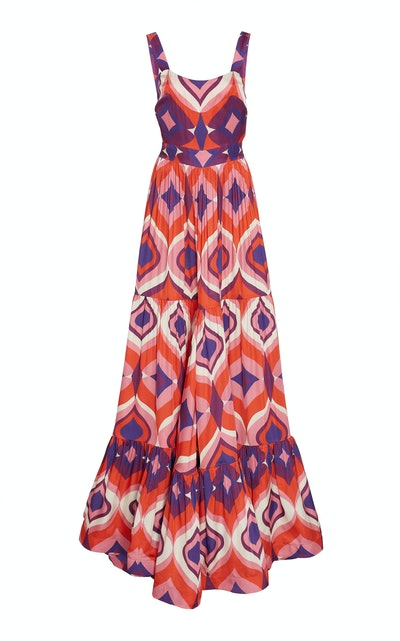 Jourdan Printed Crepe Maxi Dress