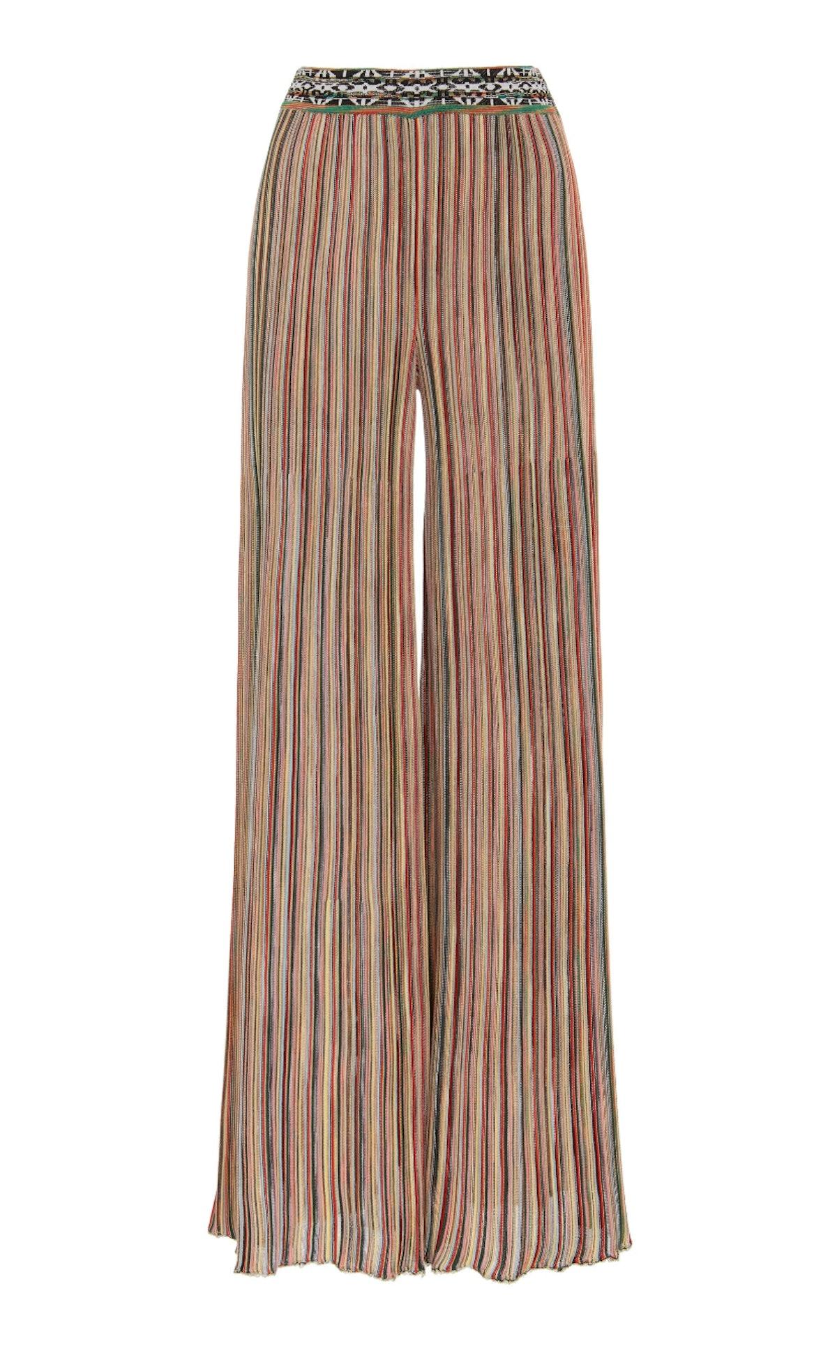 Striped Stretch-Knit Flared Pants