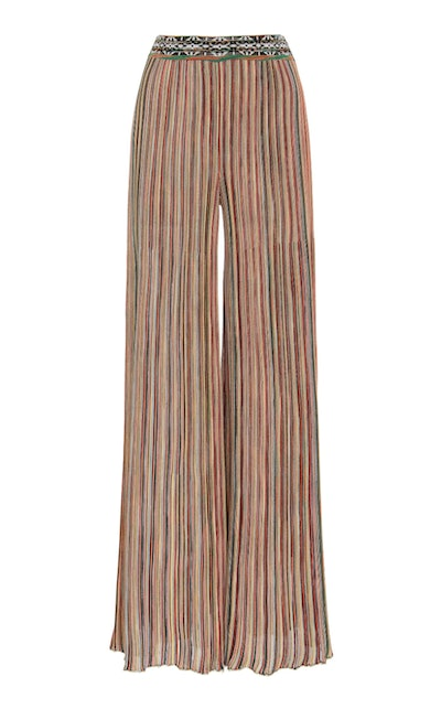 Striped Stretch-Knit Flared Pants
