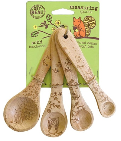 Talisman Designs Laser Etched With Woodland Design Beechwood Measuring Spoons