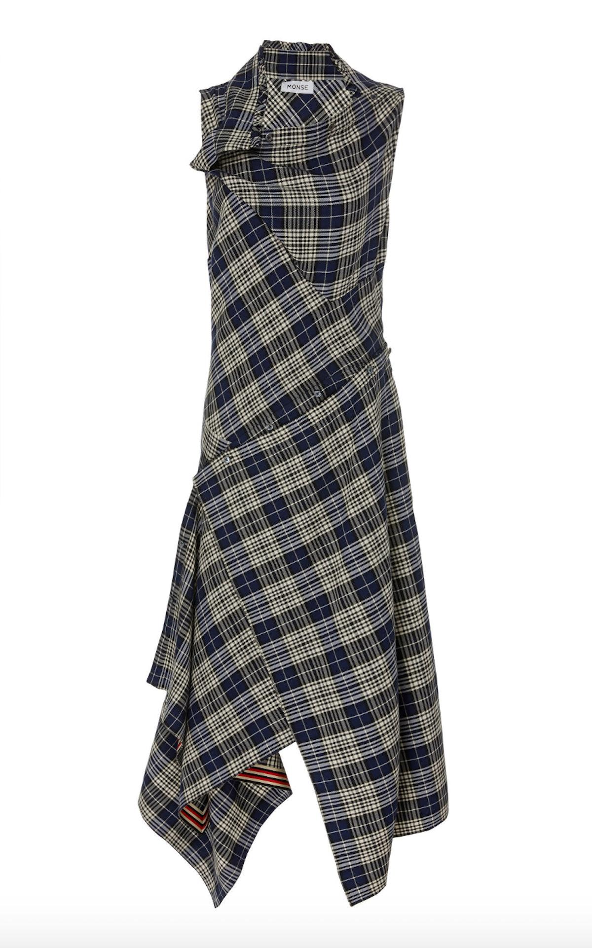 Asymmetric Plaid Crepe Shirt Dress